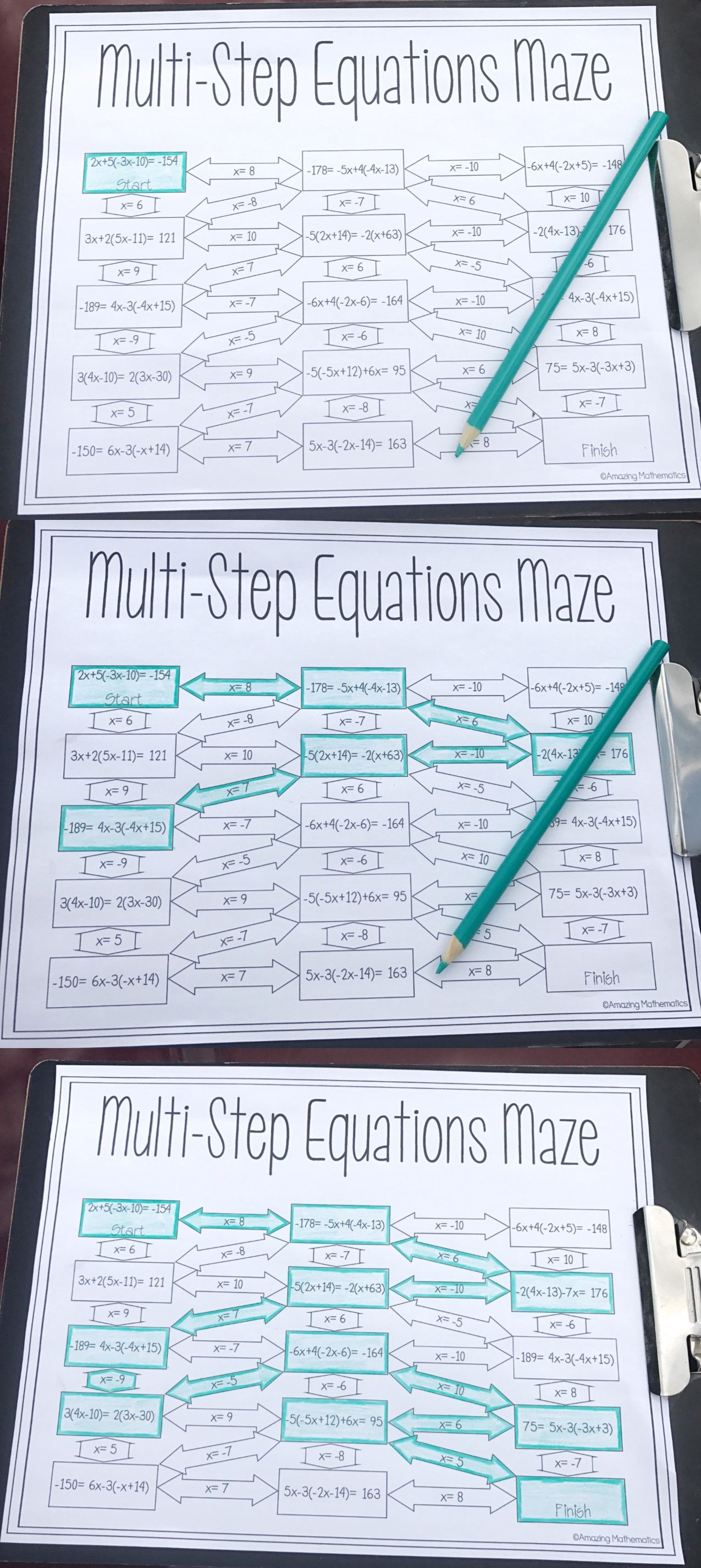 Solving Multi Step Equations Maze Worksheet 8th Grade Math
