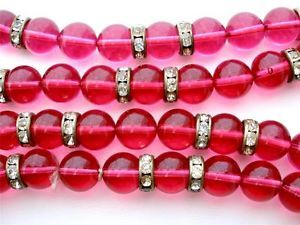 "Vintage Pink Poured Glass Necklace 36"" Long Crystal Rondelle Bead Cranberry"