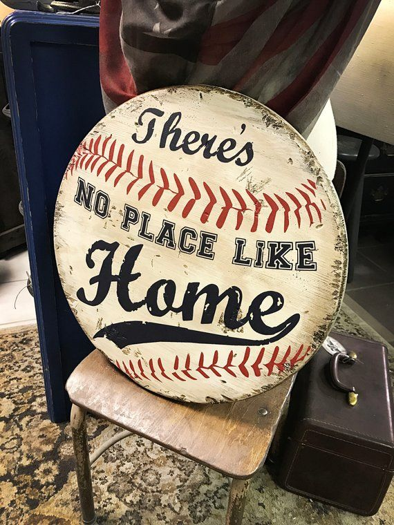 Photo of There's No Place Like Home * Wooden Sign * Baseball * Home Base * SHIPS FREE! * Handmade * Home Run