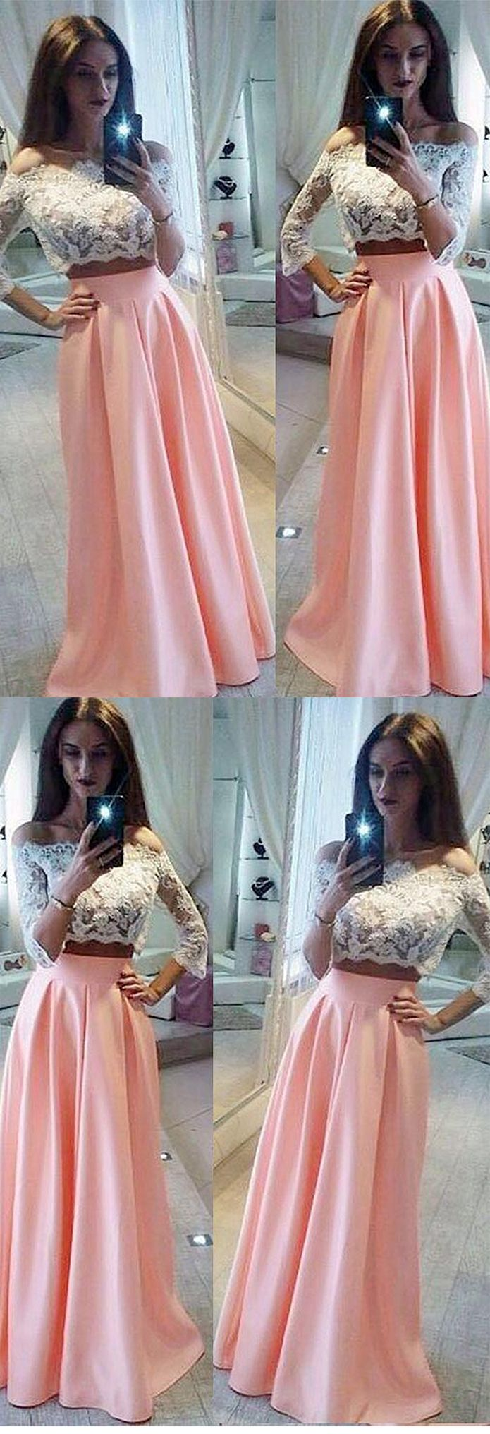Aline offtheshoulder sleeve two pieces white lace pink satin