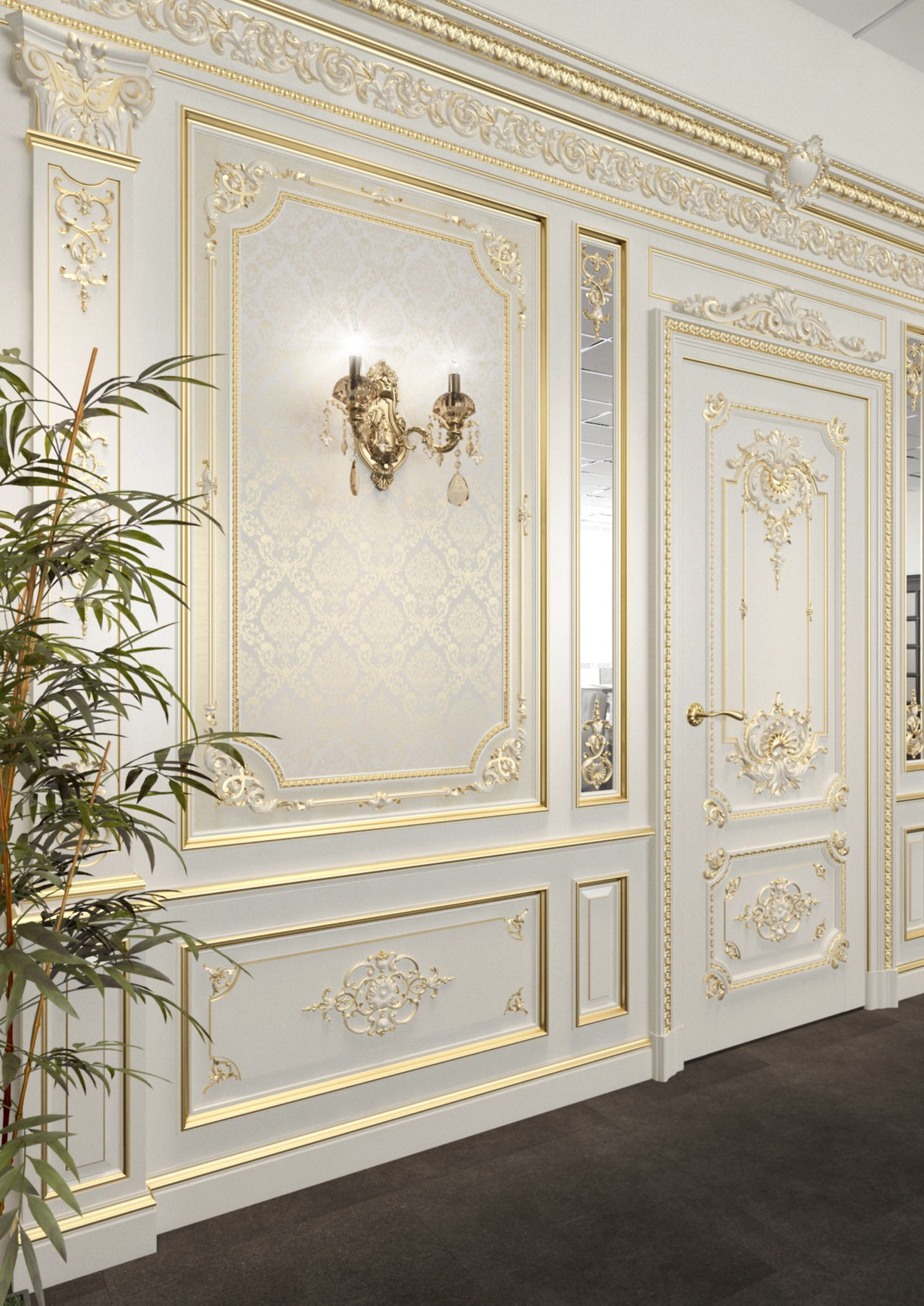 Wall panels for interior design in a classic style