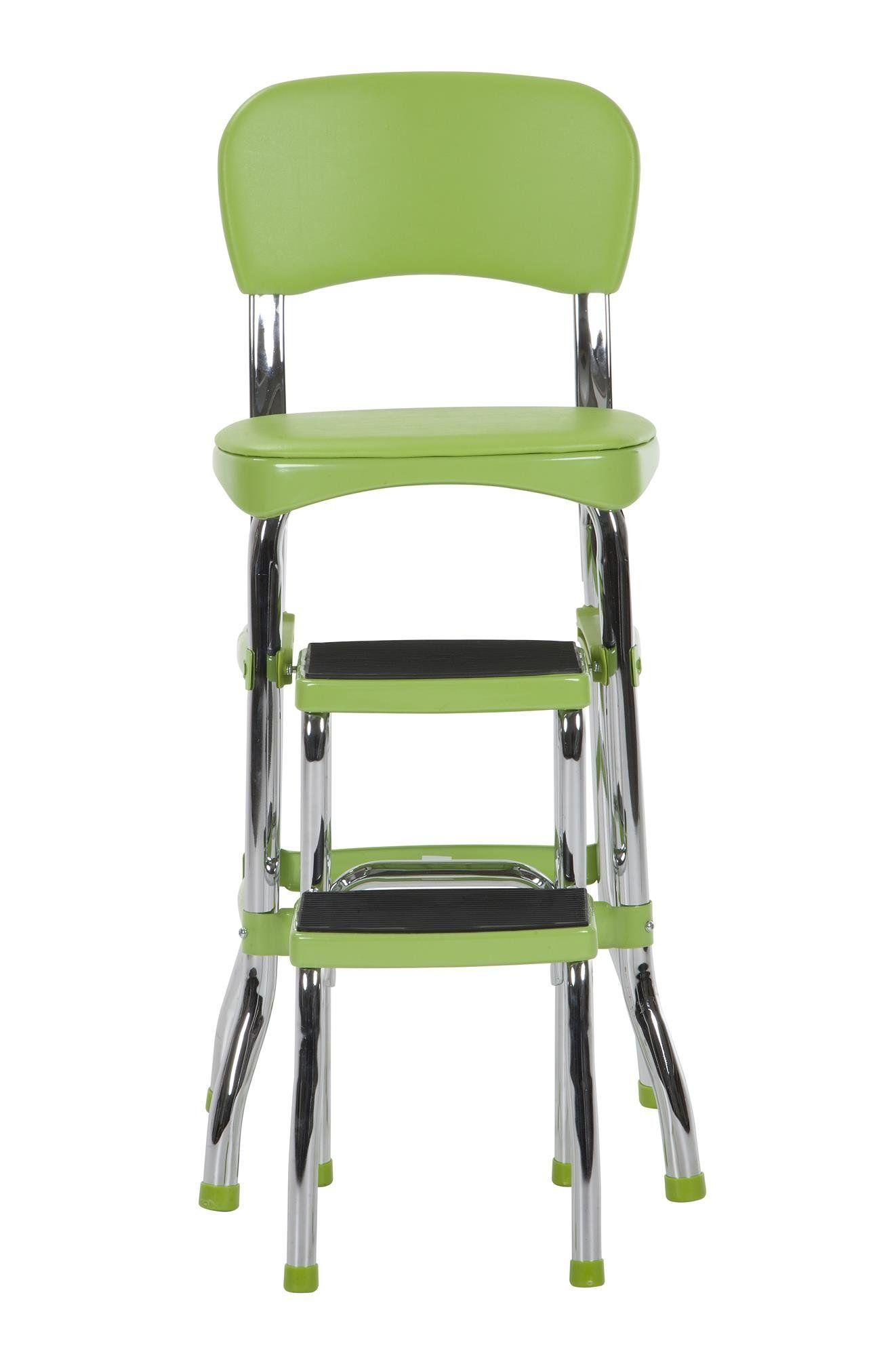 Cosco 11120grn1e retro chairstep stool counter green