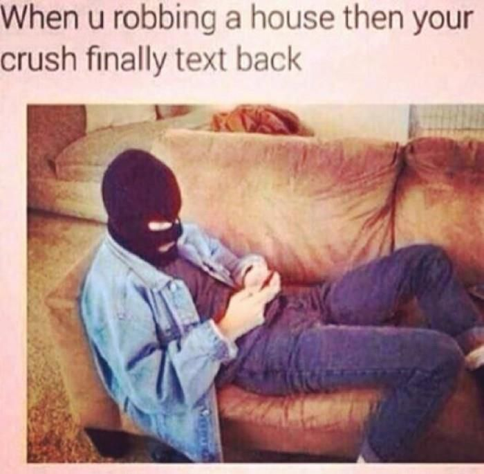 Top 22 Funniest Humours Ever -  When You Robbing a House then Your Crush Finally text back