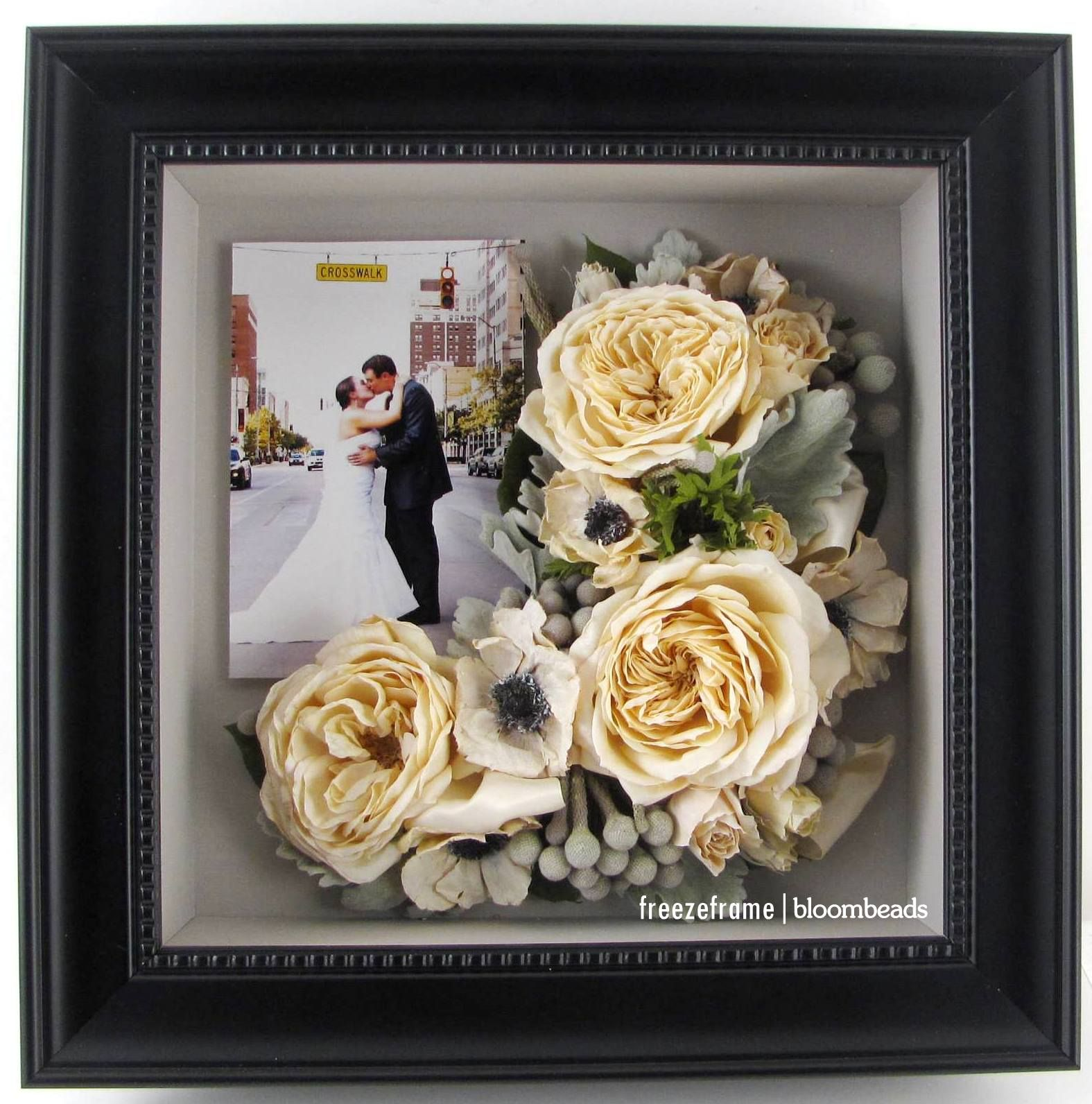 Preserve some flowers from your bouquet and add a wedding photo ...