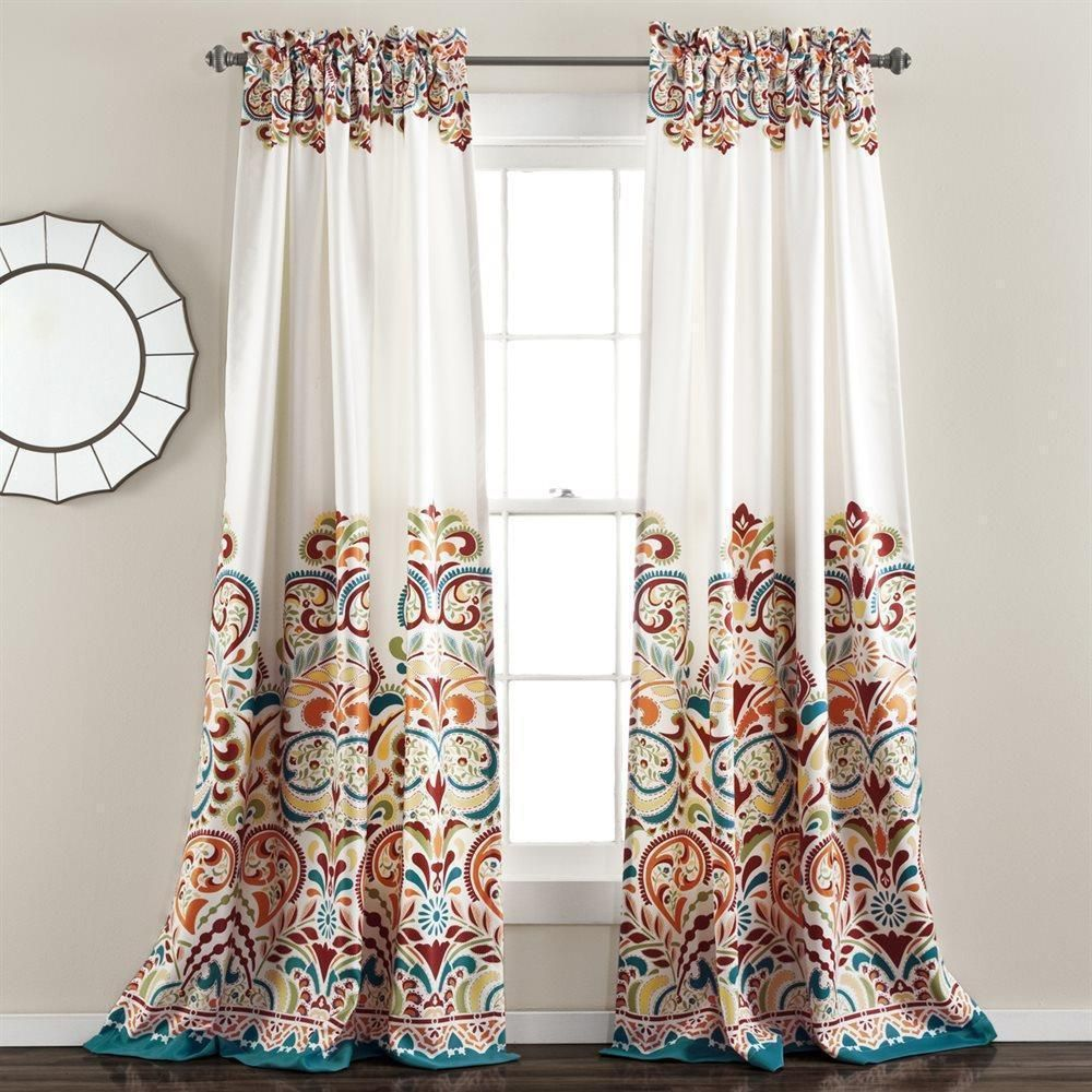 Orange Turquoise Blue White Modern Global Paisley Curtains