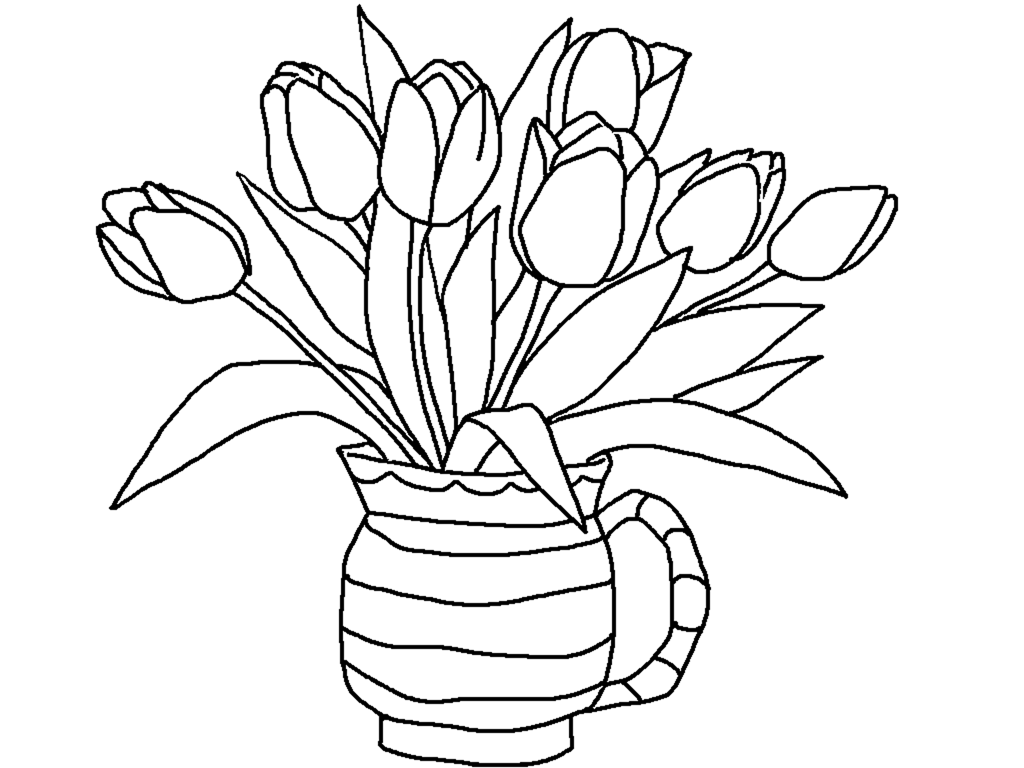 Free Printable Tulip Coloring Pages Printable Flower Coloring Pages Spring Coloring Pages Flower Coloring Pages
