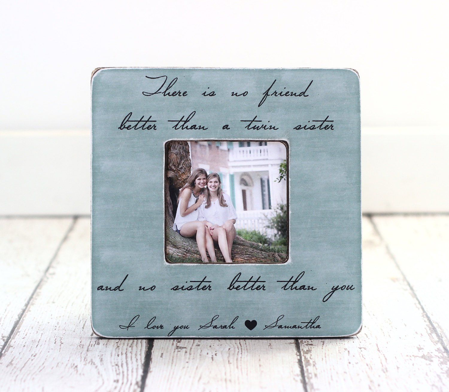 TWIN Sister Gift Personalized Picture Frame Quote Birthday Best Friend Twins Siblings