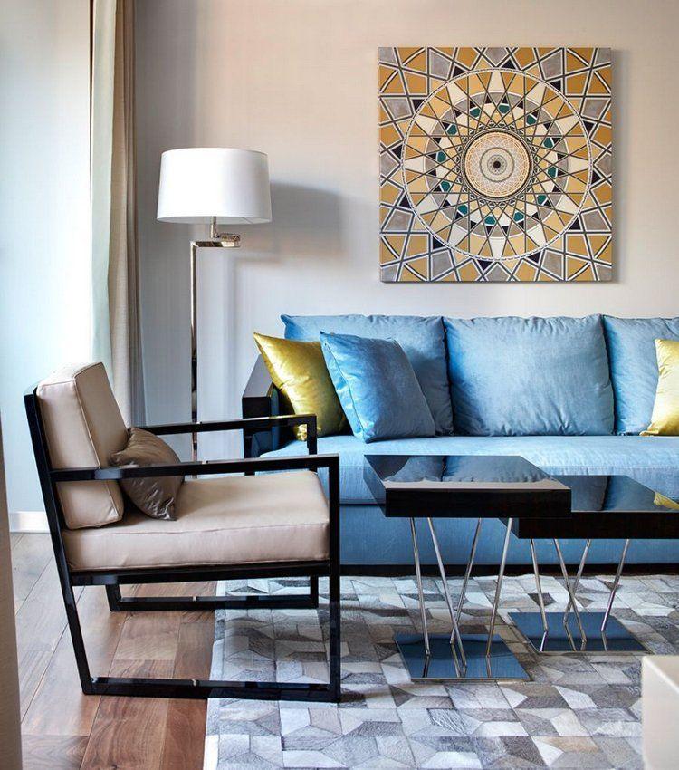 Idee Deco Salon Moderne Tableau Mandala Canape Bleu Lampadaire