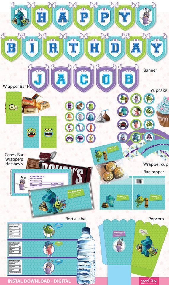MONSTER INC. - Party Package Kit ! birthday set - banner ...