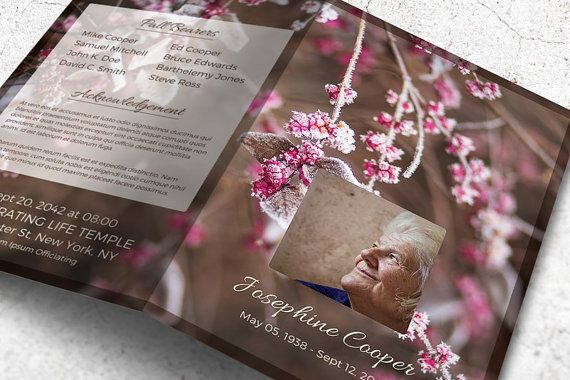 Printable Funeral Program Obituary Template Editable With Ms Word
