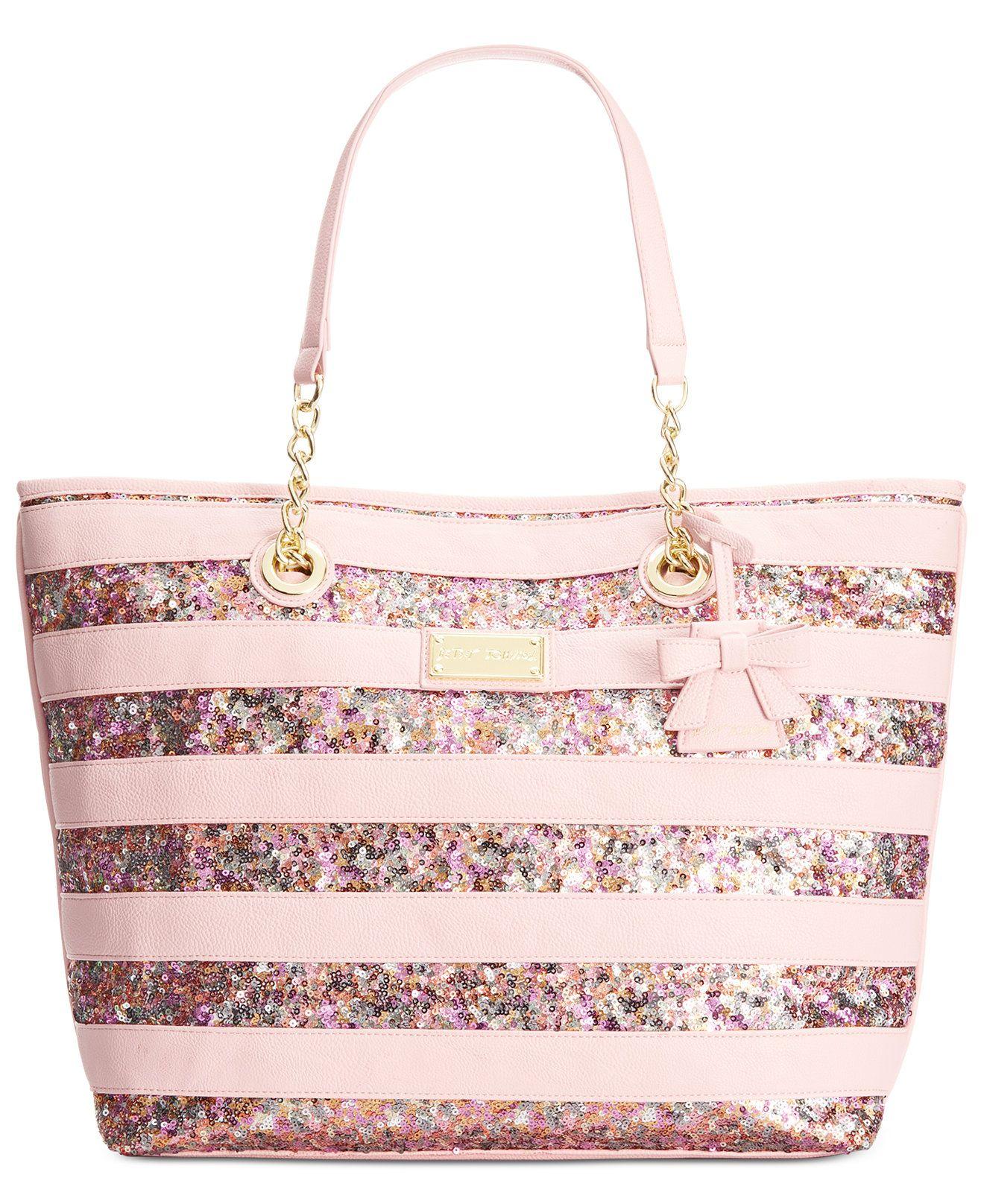 Betsey Johnson Macy S Exclusive Stripe Sequin Tote Handbags Accessories