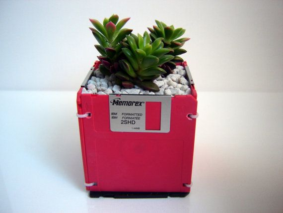 Could use cable ties to make this floppy disk planter. Need to drill holes, I guess.
