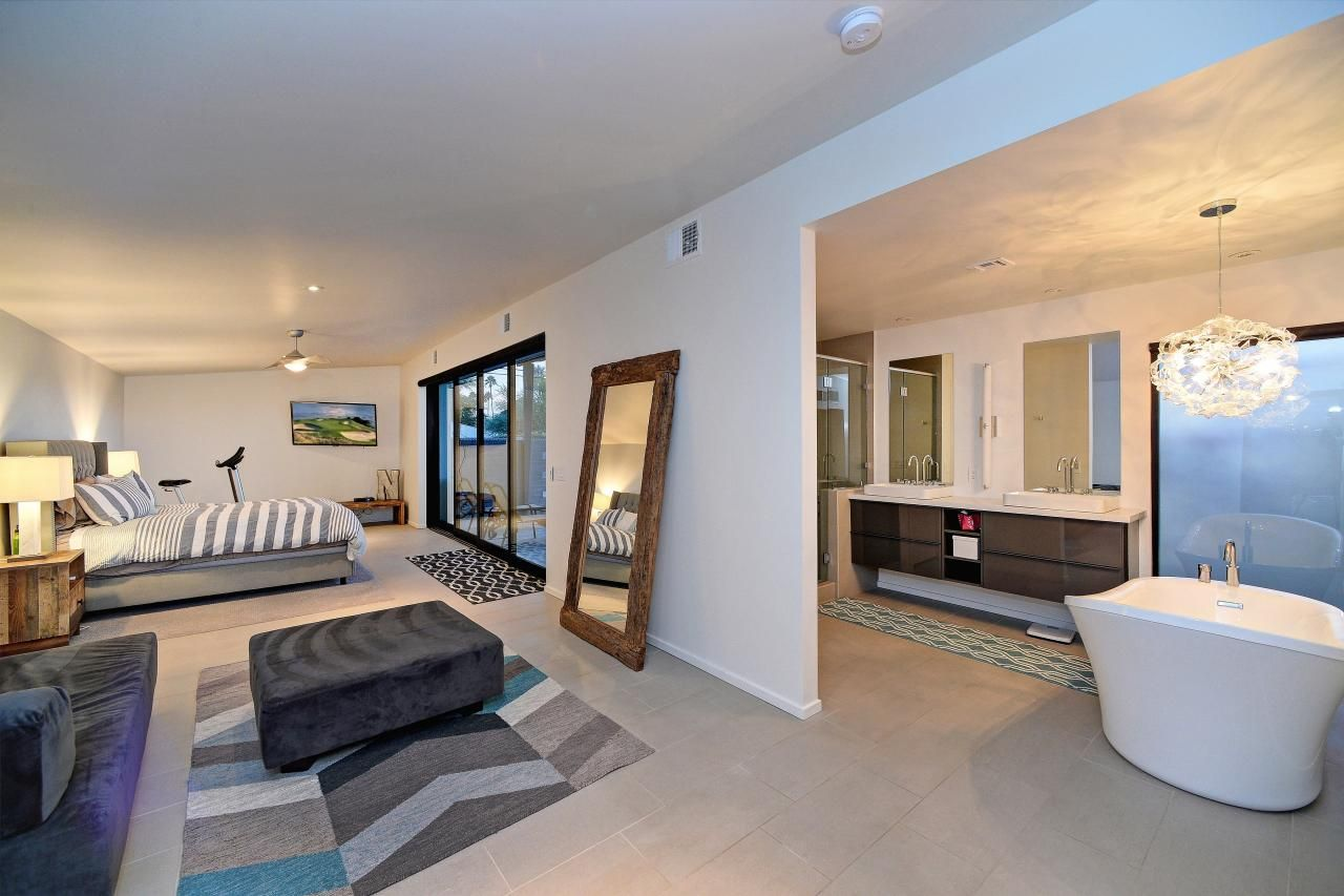 Modern Master Bedroom And Bathroom Suite With Floor Mirror Open Bathroom Modern Master Bedroom Master Bedroom Design Layout
