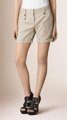 Pantaloncini in cotone e lino con risvolti