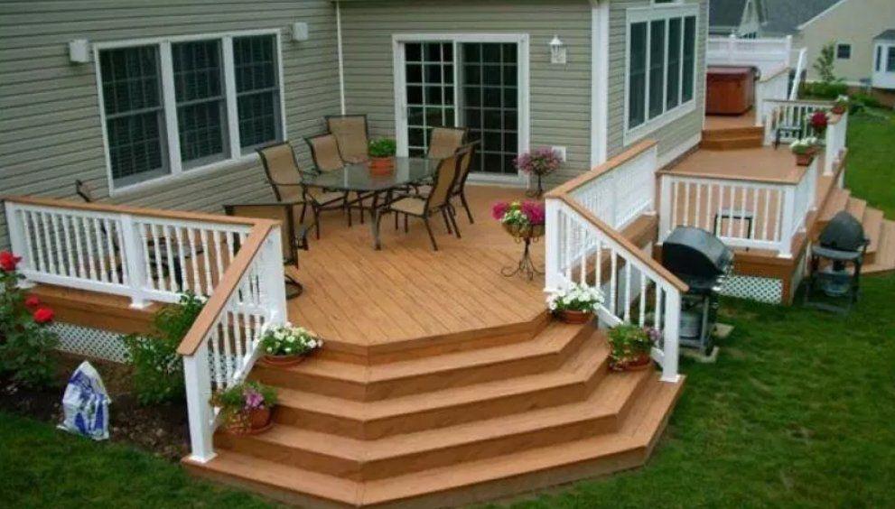 Inspirational Ideas For Mobile Home Decks With Pictures Deck Designs Backyard Decks Backyard Building A Deck