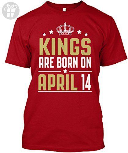 90bf9c0f Teespring Unisex Kings Are Born On April 14 Birthday Hanes Tagless T-Shirt  Large Deep Red - Birthday shirts (*Amazon Partner-Link)