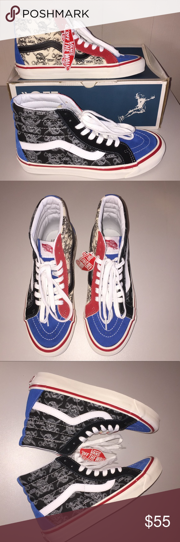 d871819e12 NWT Vans SK8-Hi 38 Reissue 50th STV Multi Print Cool pirate skull print in  multi color suede and sturdy canvas upper. M 7.5 W 9.0 Vans Shoes Sneakers