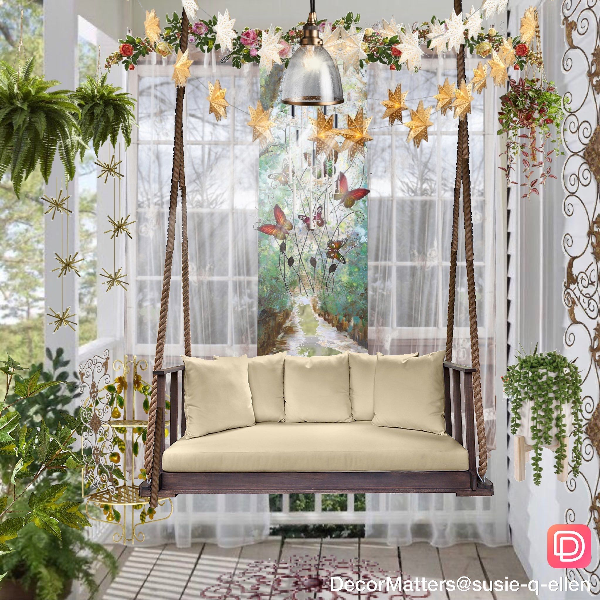 Cozy outdoor porch decor with hanging bench and plants everywhere! Created in the DecorMatters app. Click the image to try our free home design app.  (Keywords: interior design apps, room design app, free home decor app, dream rooms, dream house, house design, room ideas, home decor, design home, decormatters, decormatters app, decor matters, home decor ideas, DIY home decor, positive vibes, positive thoughts)