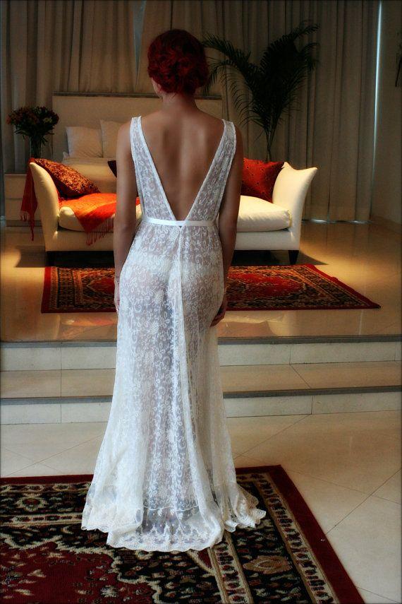 0fbb8e745afed Lace Bridal Nightgown French Lace Wedding Lingerie Bridal Sleepwear  Backless Wedding Sleepwear Brida