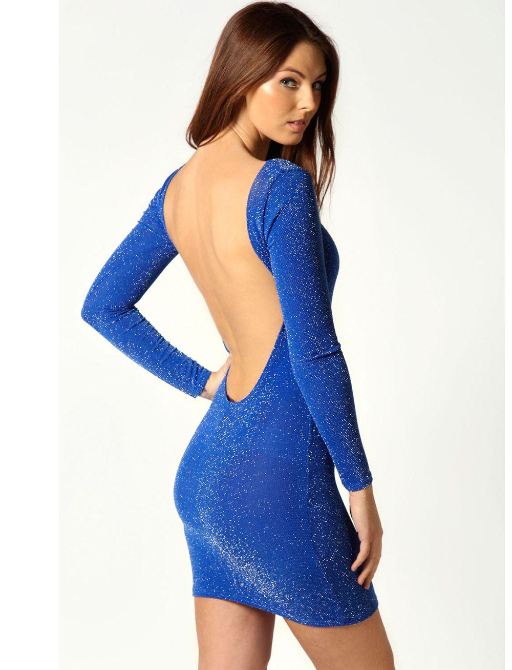 Blue Long Sleeve Backless Bodycon Dress - Sheinside.com | Formal ...