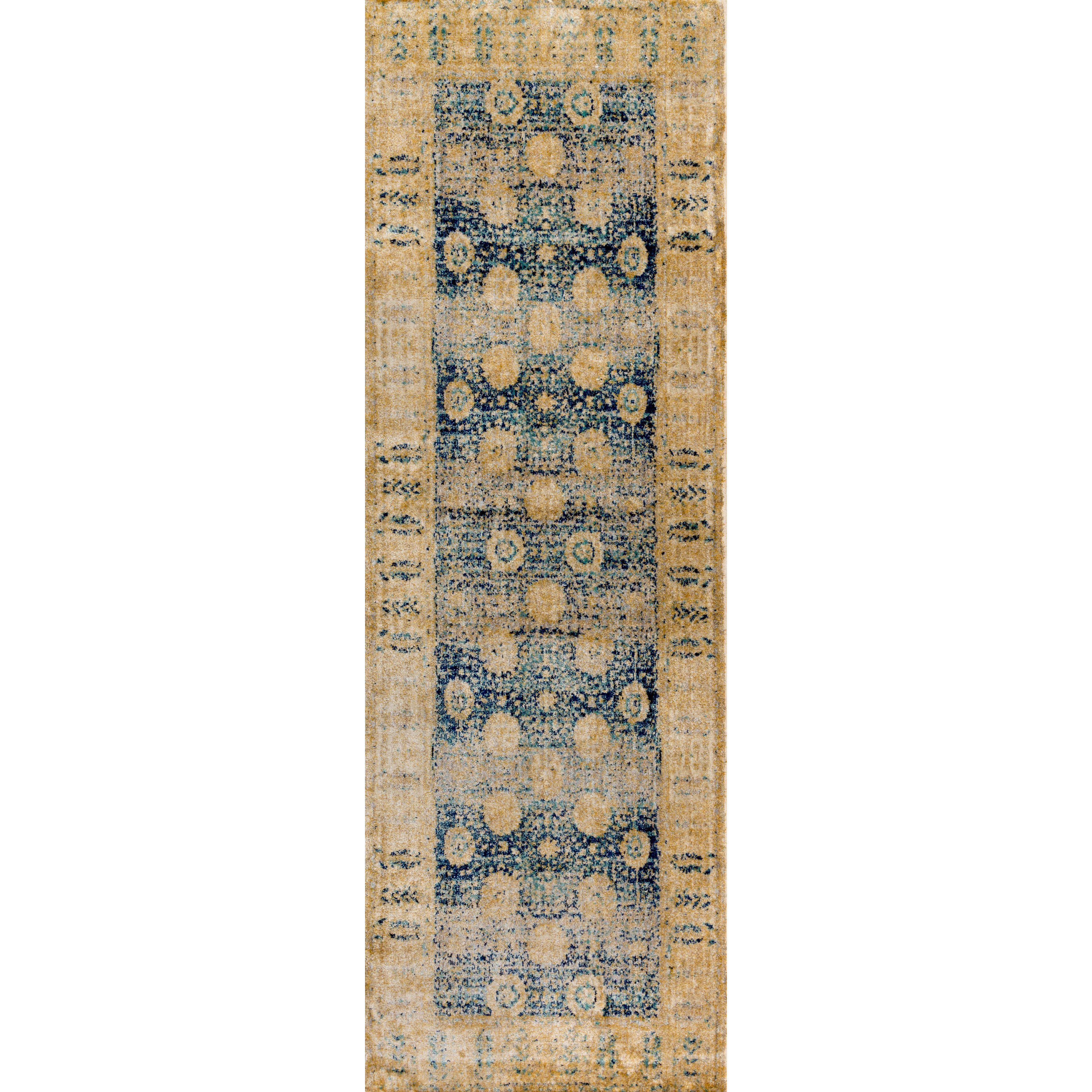 Traditional Blue Gold Floral Distressed Runner Rug 2 7 X 12