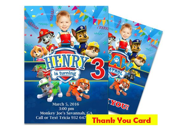 Paw Patrol Photo Invitation + Thank You Card - Photo invitations, Paw patrol, Photo birthday invitations, Thank you cards, Paw patrol birthday, Paw patrol party - ID 338 Personalized Paw Patrol Photo Invitation & Thank You Card are completely customazible!!! Make your child's birthday special with the unique Paw Patrol Photo Invitation & Thank You Card  Let me know if you'd like to change wording, colors, or fonts to fit your own personal style   Receive a $5 00 discount if you additionally purchase Personalized Paw Patrol Photo Cupcake Toppers