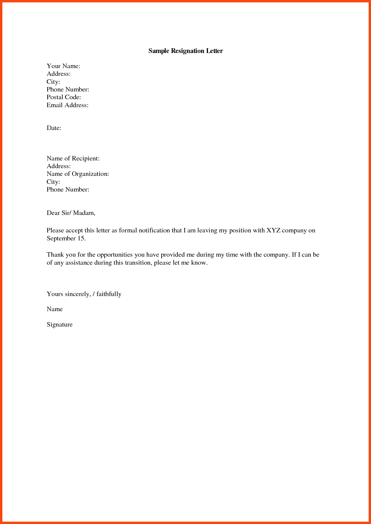 Format Of Resigning Letter from i.pinimg.com