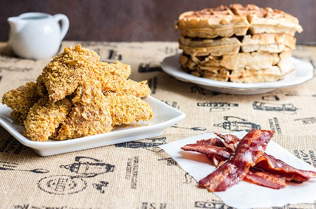 Oven Fried Chicken and Waffles recipe by skinnymom photo of cooked ingredients