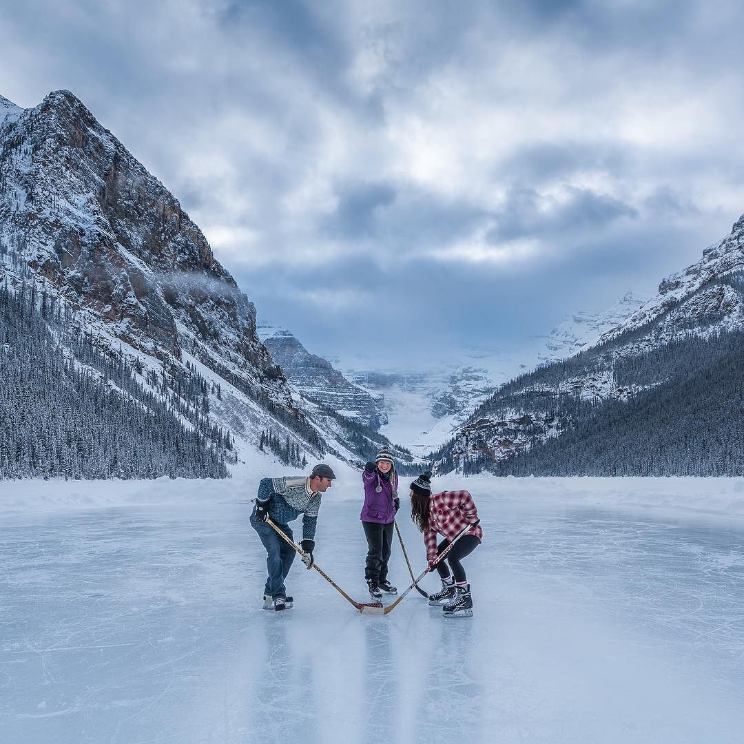 """banff_lakelouise """"Game On! Playing some pond hockey on"""