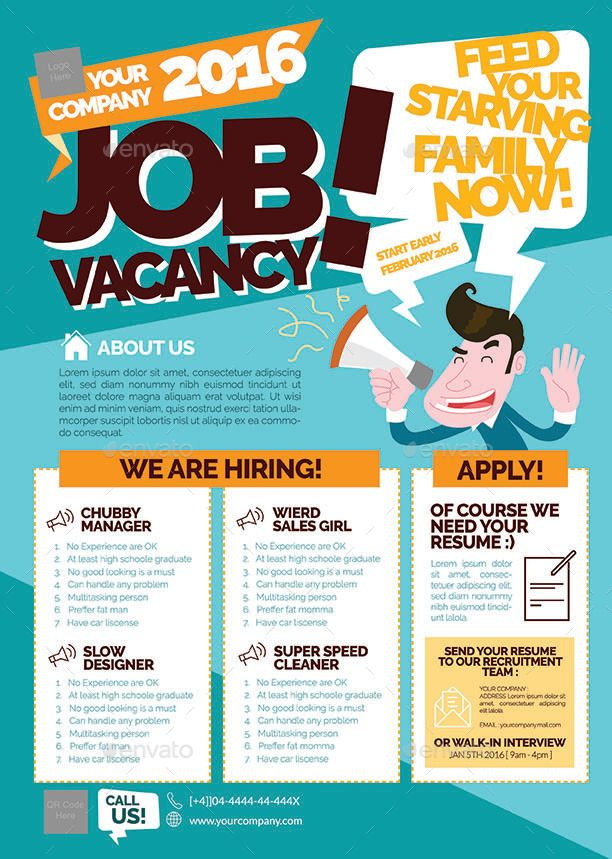 Job Vacancy Flyer BIGBASH Pinterest Creative advertising