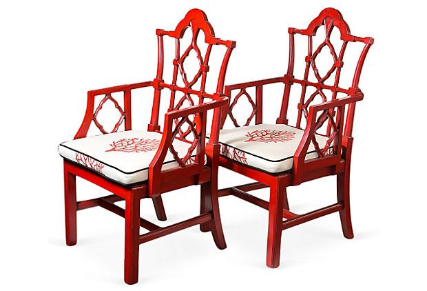 Red Chinese Chippendale Chairs Pair On Onekingslane