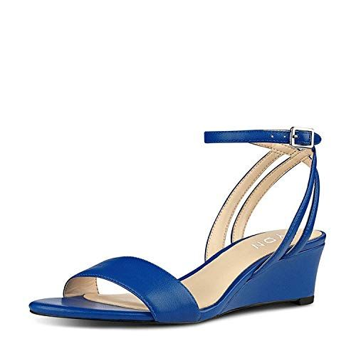 614552d022db YDN Women Open Toe Low Heel Wedge Sandals Ankle Straps Slingback Summer  Shoes Blue 5