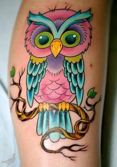 f4f6db4abca00 Dont like the size, too big for a foot tattoo, but love the owl & the  color! #OwlTattoo #color #ink