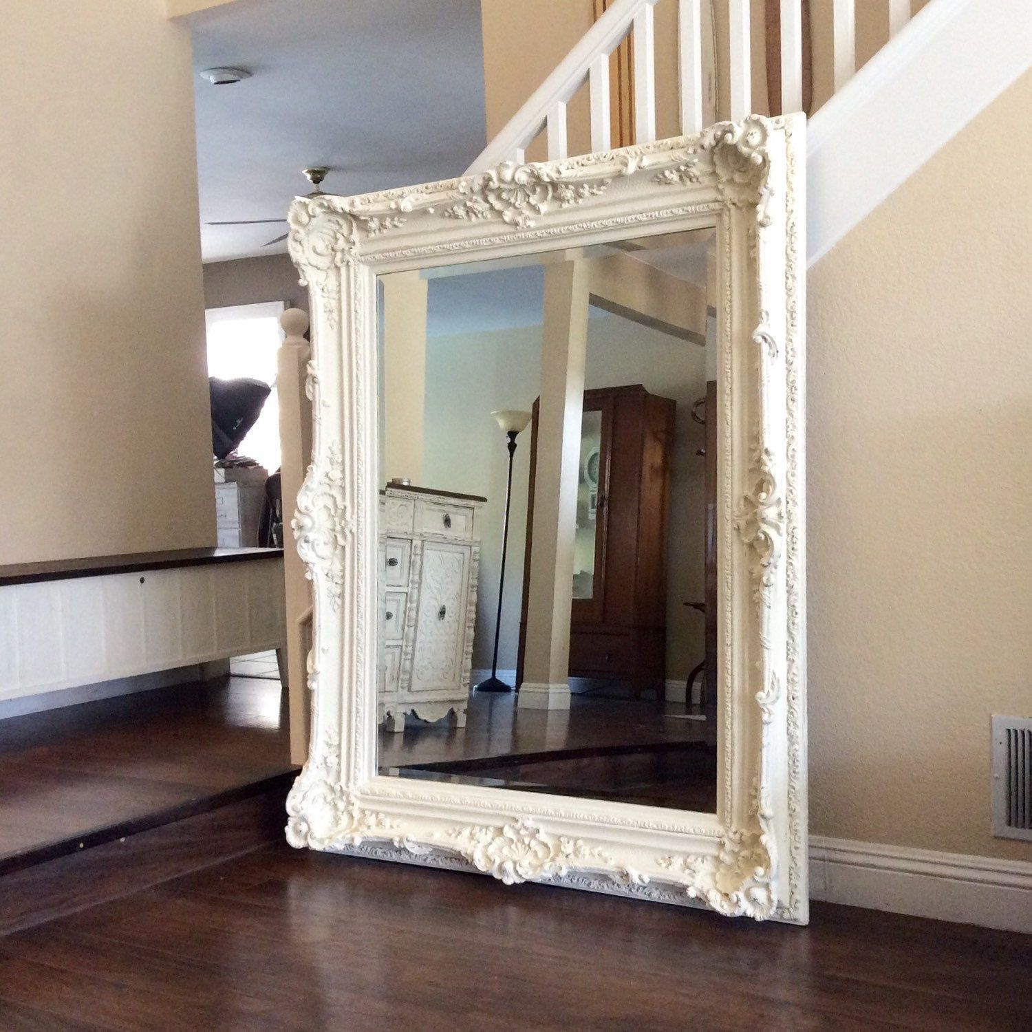 Gorgeous Ornate Mirror Large White Shabby Chic Wall Nursery Decor Furniture Home And