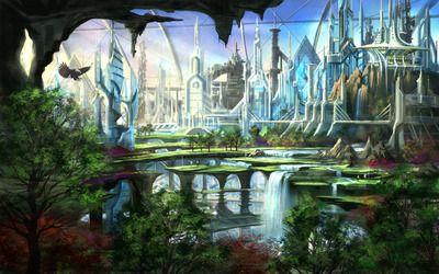 Futuristic Garden Hd Wallpaper Futuristic City Fantasy City Futuristic