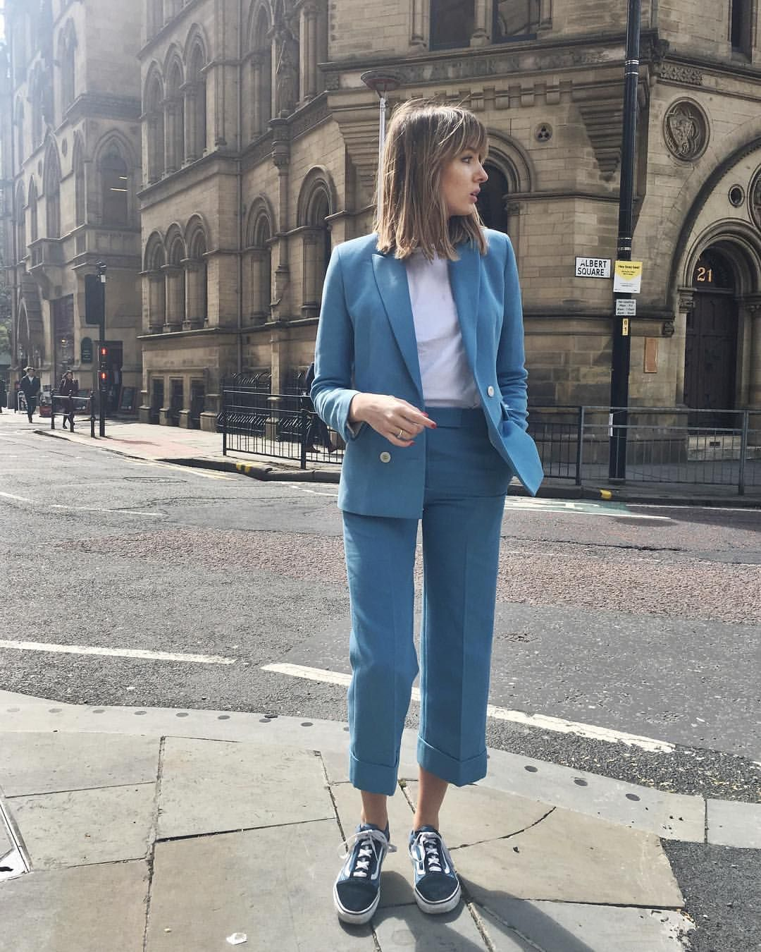 "9e78c4bd29d0f9 Lizzy Hadfield ( shotfromthestreet) on Instagram  ""New post on the blog!!  Styling up this suit two different ways"