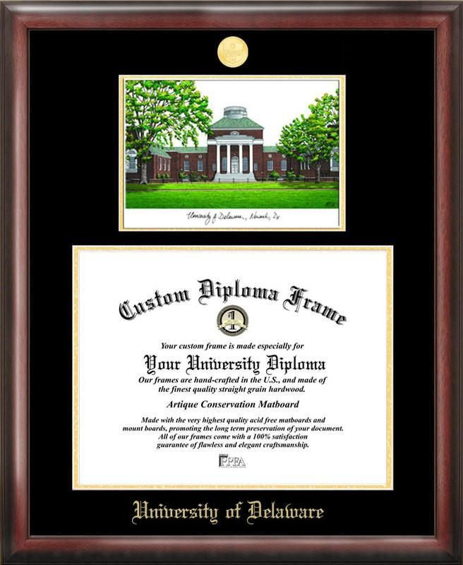 University Of Deleware Gold Embossed Diploma Frame With