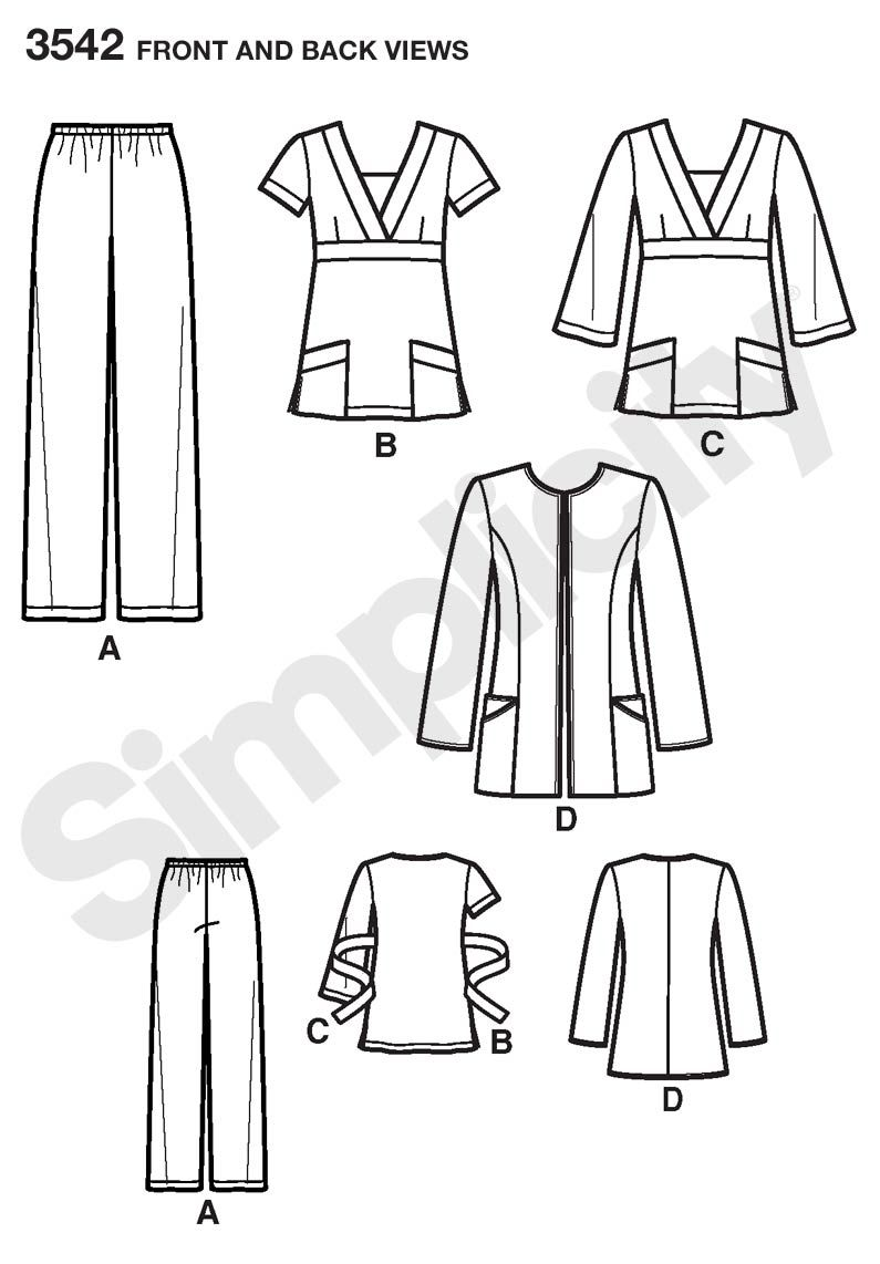 Misses or Plus Size Scrubs sewing pattern 3542 Simplicity | Knitting ...