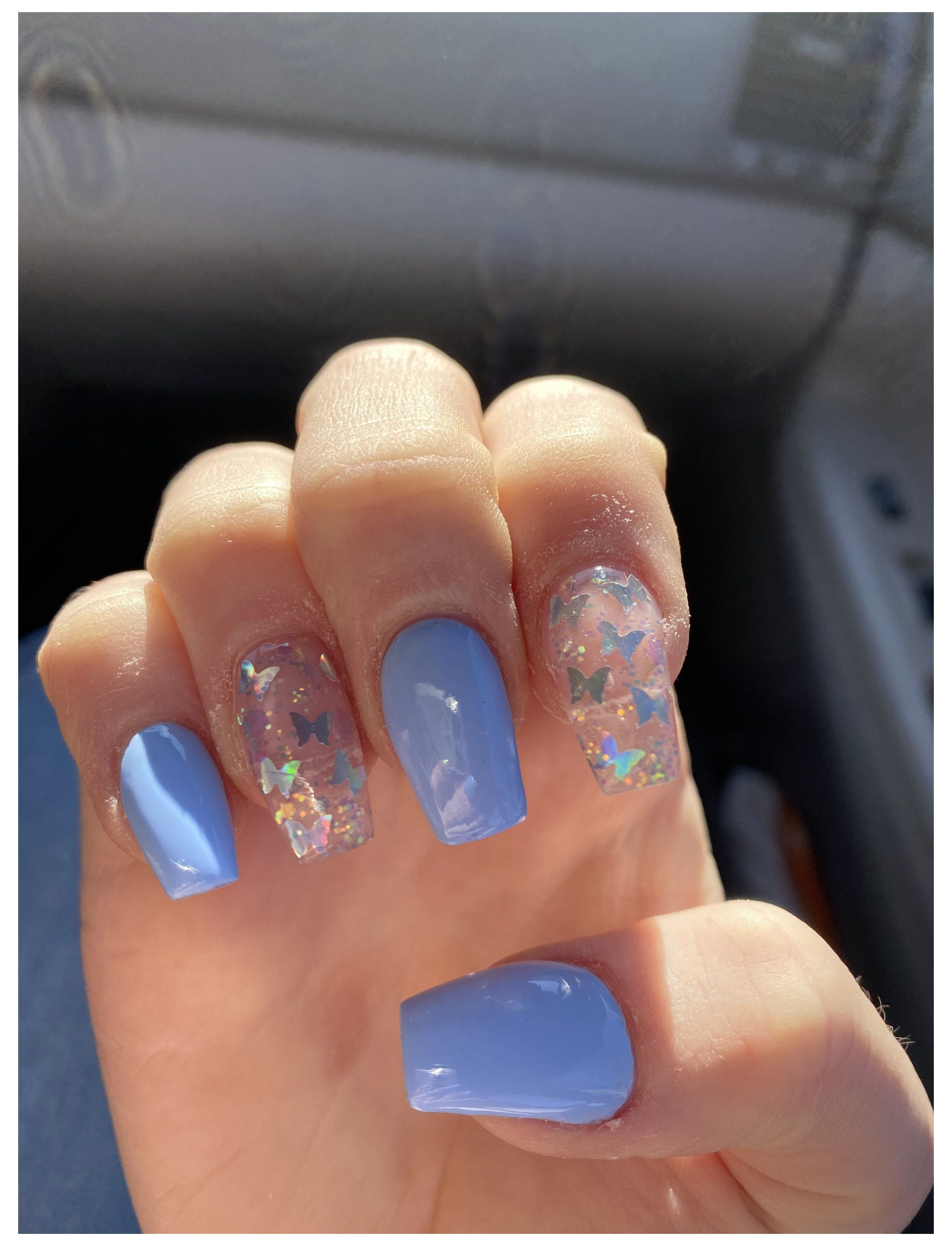 Blue Butterfly Nails Short Acrylic Nails Square Butterfly Blue Butterfly Nails In 2020 Blue Glitter Nails Pink Acrylic Nails Short Acrylic Nails Designs