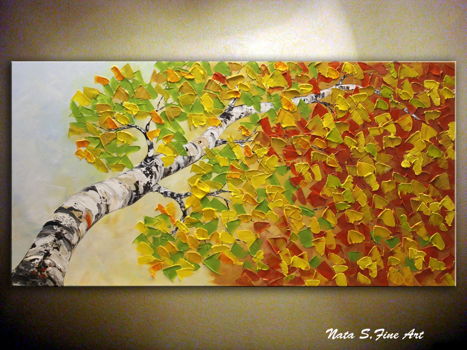 Contemporary artwork for the home - Original Large Birch Tree Painting Abstract Contemporary Artwork Impasto Palette Knife Birch Tree Painting Home