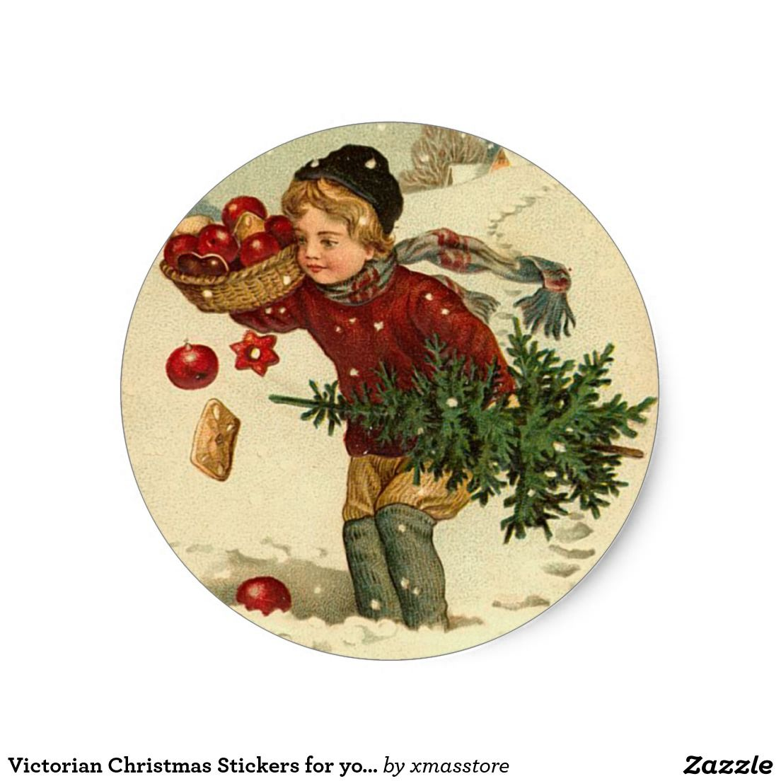 Victorian Christmas Stickers for your cards | Custom CHRISTMAS ...