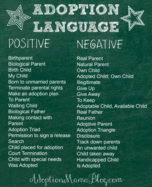 """Adoption language.  Great reminder. I can't believe I still hear people talk about adoptive moms vs """"real"""" moms!"""