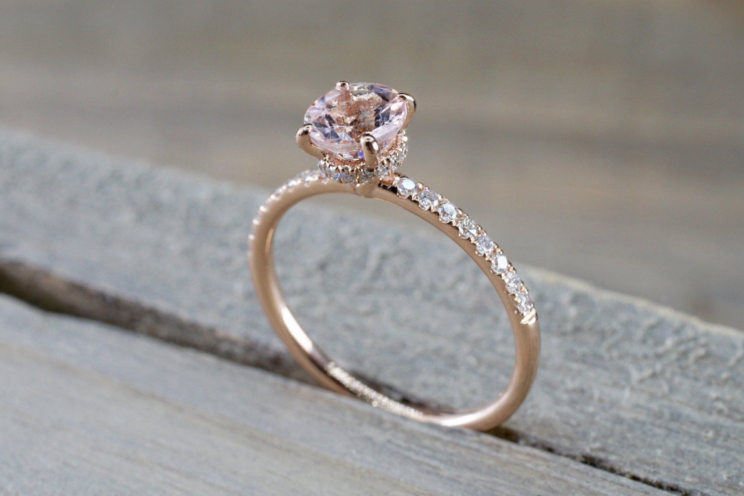 14k Rose Gold Dainty Round Morganite With Round Cut Diamonds Ring ER010002 #usquotes