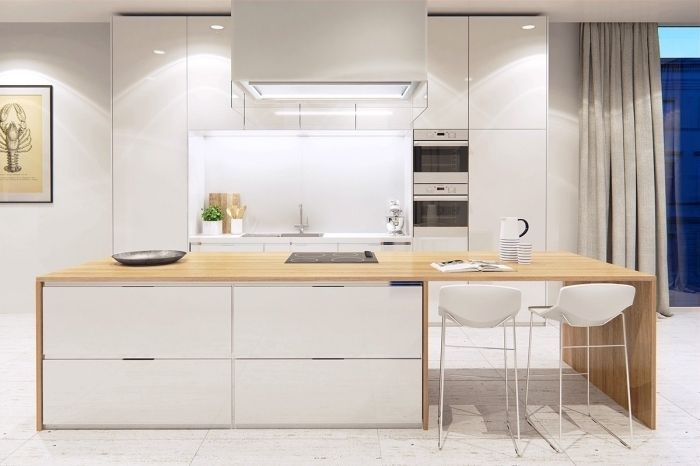 modèle de cuisine moderne blanche avec ilot central blanc et bois