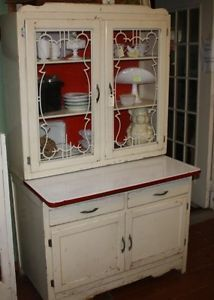 Art Deco Hoosier Cabinet Original Glass Doors Enamel Work Surface