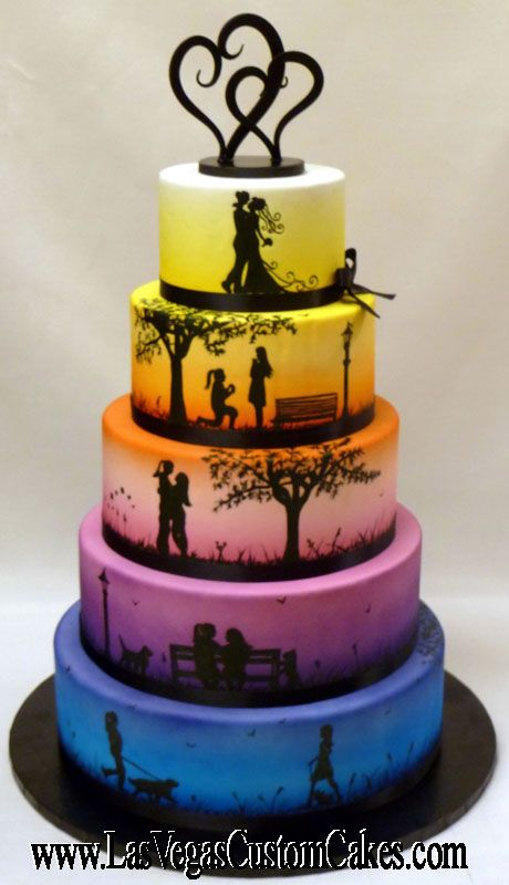 ce21fba91889 The stages of a life together displayed on a wedding cake