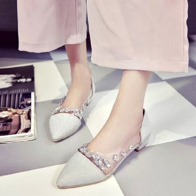 ZZPOHE Fashion women's shoes and comfortable low-heeled pointed flat shoes diamond sets foot casual slip work shoes Woman shoes