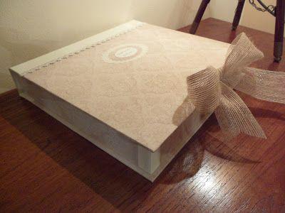 DE CARTÓN Y TRAPO: Libro de firmas con su caja para una boda