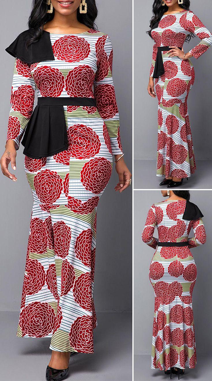 Mandala Print Side Slit Ruffle Hem Maxi Dress