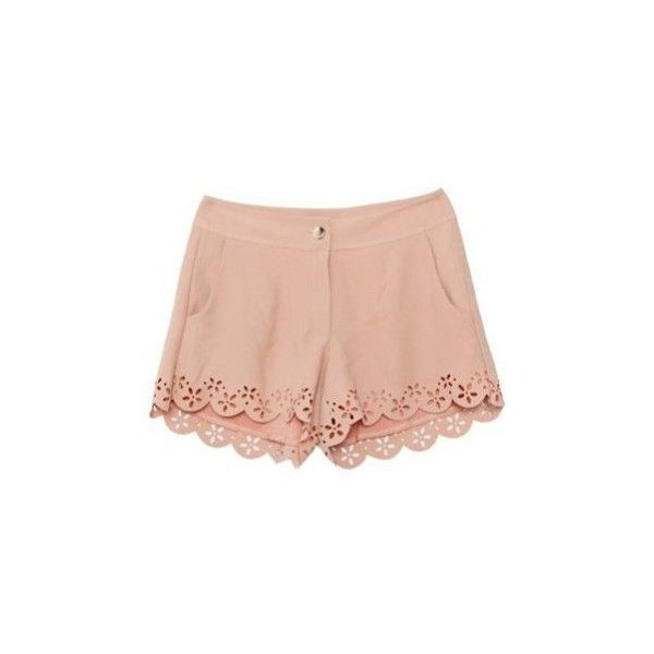 Pink Mid Waist Hollow Shorts (€38) ❤ liked on Polyvore featuring shorts, bottoms, pants, short, short shorts, print shorts, patterned shorts, pink short shorts and pink shorts